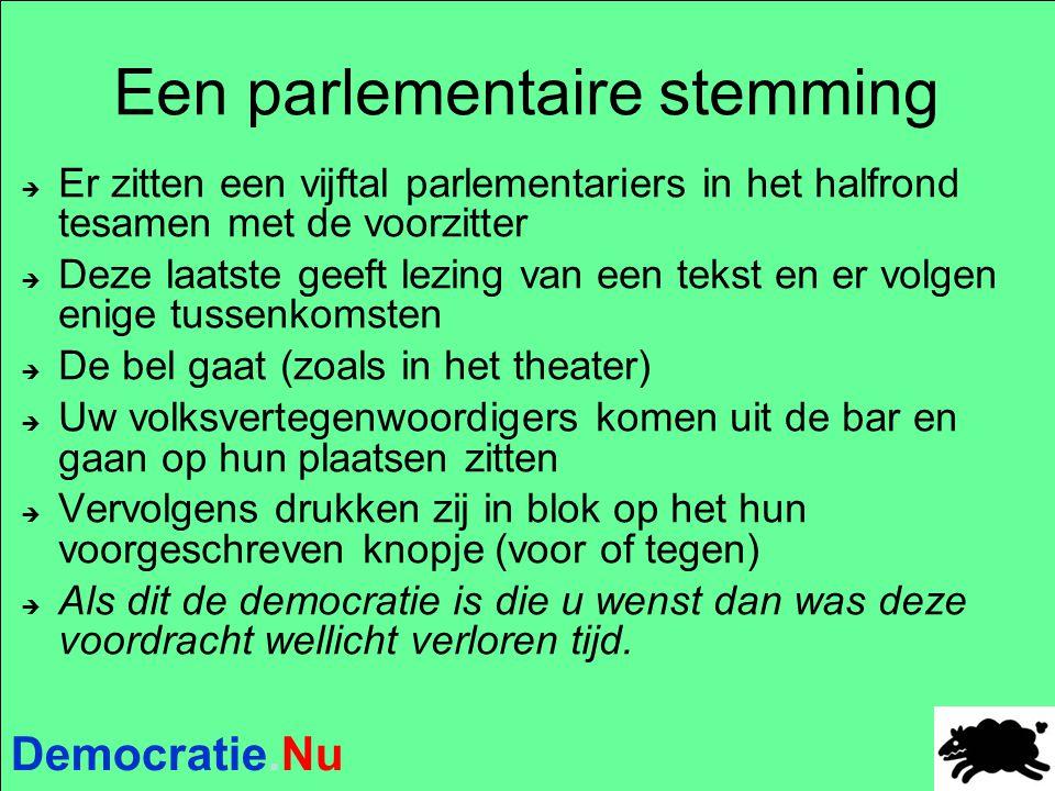 Democratie.Nu Een parlementaire stemming  Er zitten een vijftal parlementariers in het halfrond tesamen met de voorzitter  Deze laatste geeft lezing