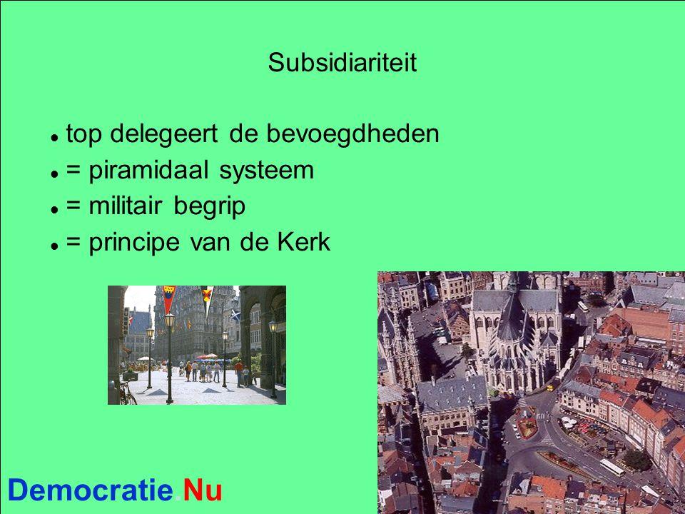 Democratie.Nu Subsidiariteit top delegeert de bevoegdheden = piramidaal systeem = militair begrip = principe van de Kerk