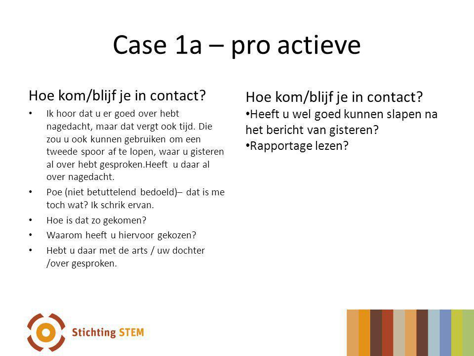 Case 1a – pro actieve Hoe kom/blijf je in contact? Ik hoor dat u er goed over hebt nagedacht, maar dat vergt ook tijd. Die zou u ook kunnen gebruiken
