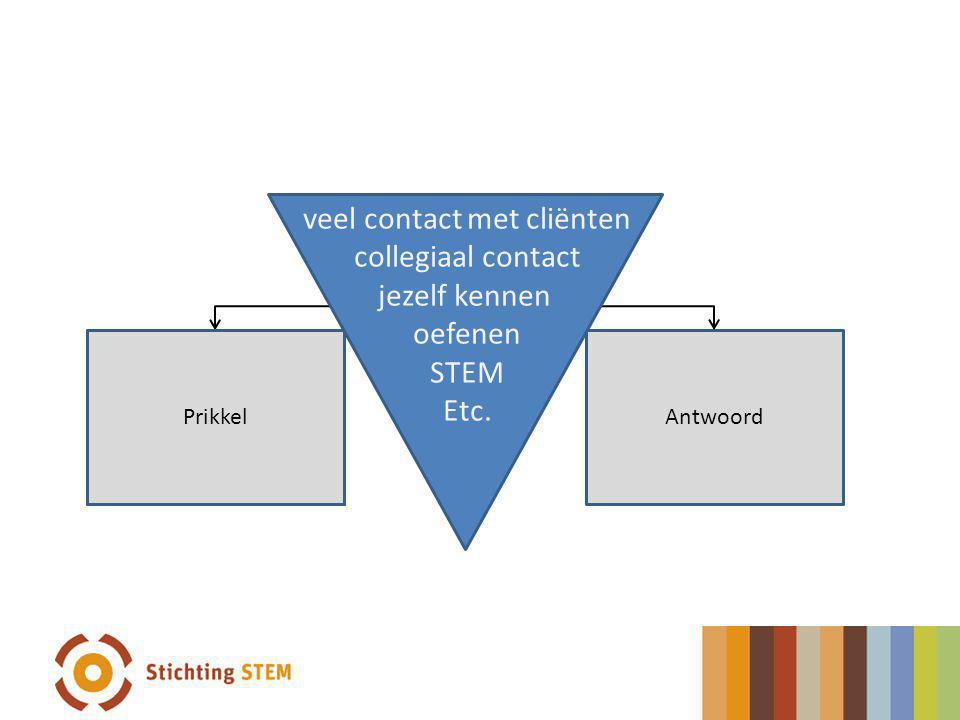PrikkelAntwoord Prikkel veel contact met cliënten collegiaal contact jezelf kennen oefenen STEM Etc.