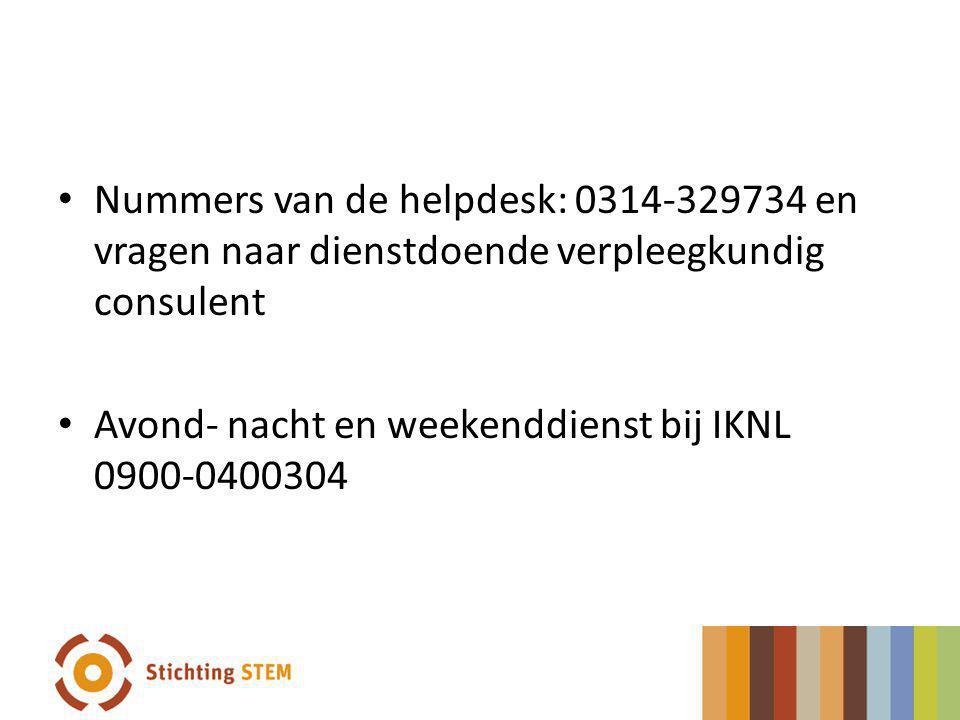 Nummers van de helpdesk: 0314-329734 en vragen naar dienstdoende verpleegkundig consulent Avond- nacht en weekenddienst bij IKNL 0900-0400304