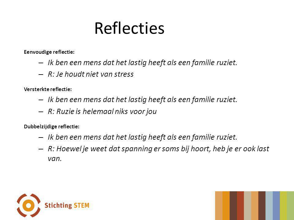 Reflecties Eenvoudige reflectie: – Ik ben een mens dat het lastig heeft als een familie ruziet. – R: Je houdt niet van stress Versterkte reflectie: –