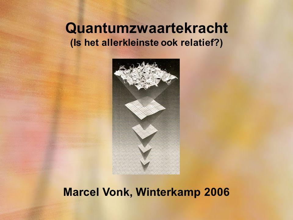Quantumzwaartekracht (Is het allerkleinste ook relatief?) Marcel Vonk, Winterkamp 2006