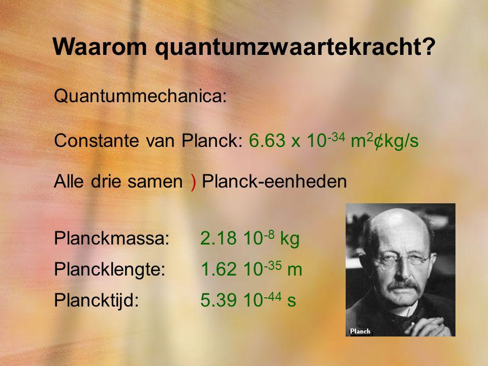 Waarom quantumzwaartekracht? Quantummechanica: Constante van Planck: 6.63 x 10 -34 m 2 ¢kg/s Alle drie samen ) Planck-eenheden Planckmassa:2.18 10 -8