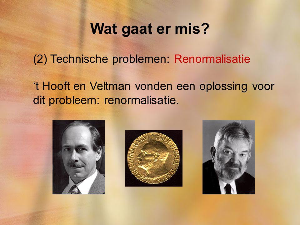 Wat gaat er mis? (2) Technische problemen: Renormalisatie 't Hooft en Veltman vonden een oplossing voor dit probleem: renormalisatie.