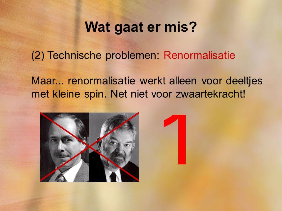 Wat gaat er mis? (2) Technische problemen: Renormalisatie Maar... renormalisatie werkt alleen voor deeltjes met kleine spin. Net niet voor zwaartekrac