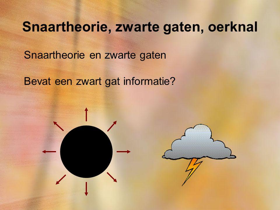 Snaartheorie, zwarte gaten, oerknal Snaartheorie en zwarte gaten Bevat een zwart gat informatie?