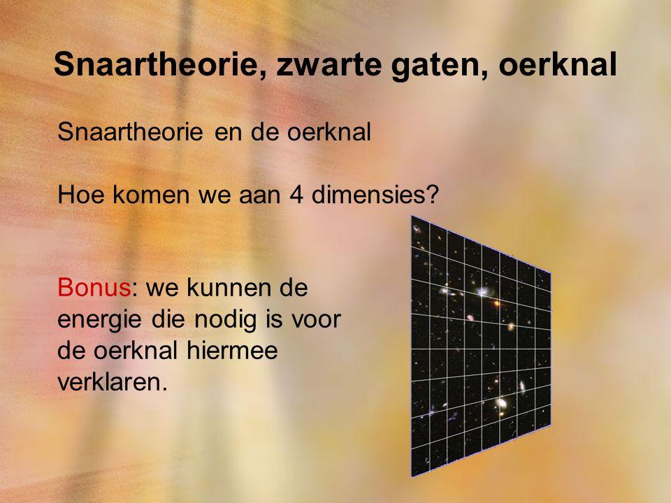 Snaartheorie, zwarte gaten, oerknal Snaartheorie en de oerknal Hoe komen we aan 4 dimensies? Bonus: we kunnen de energie die nodig is voor de oerknal