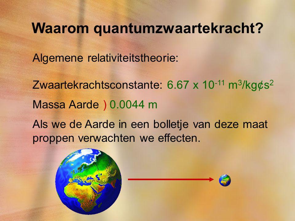 Waarom quantumzwaartekracht? Algemene relativiteitstheorie: Zwaartekrachtsconstante: 6.67 x 10 -11 m 3 /kg¢s 2 Massa Aarde ) 0.0044 m Als we de Aarde