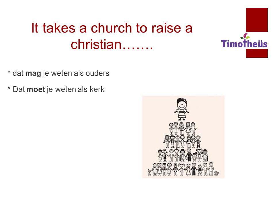 It takes a church to raise a christian……. * dat mag je weten als ouders * Dat moet je weten als kerk