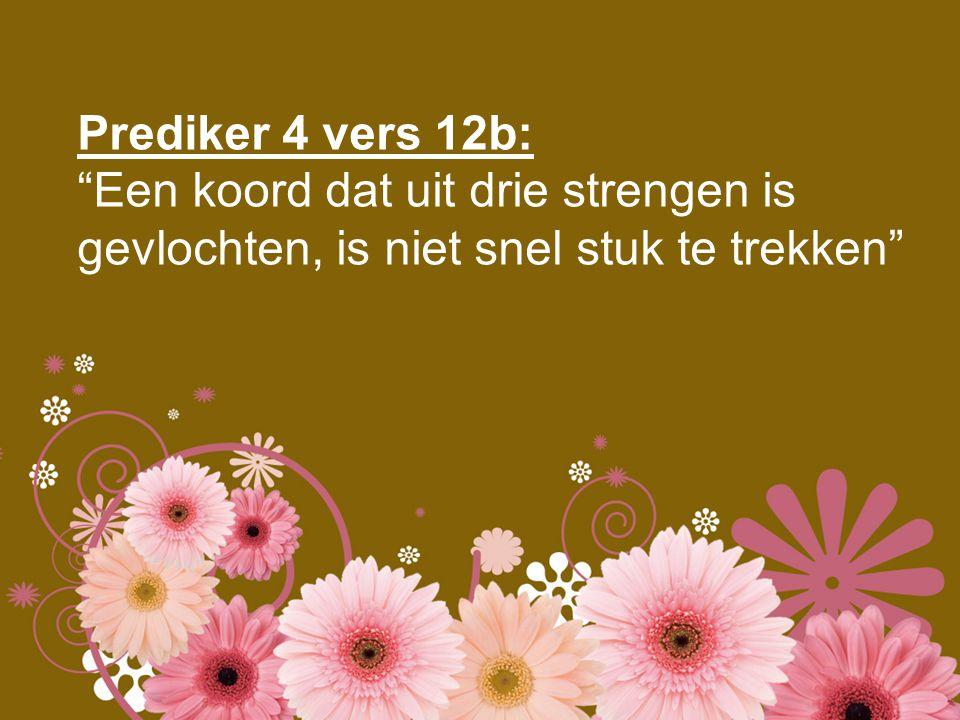 """Prediker 4 vers 12b: """"Een koord dat uit drie strengen is gevlochten, is niet snel stuk te trekken"""""""