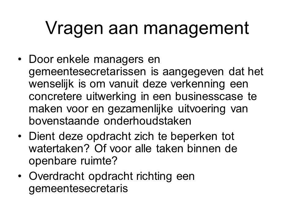 Vragen aan management Door enkele managers en gemeentesecretarissen is aangegeven dat het wenselijk is om vanuit deze verkenning een concretere uitwer
