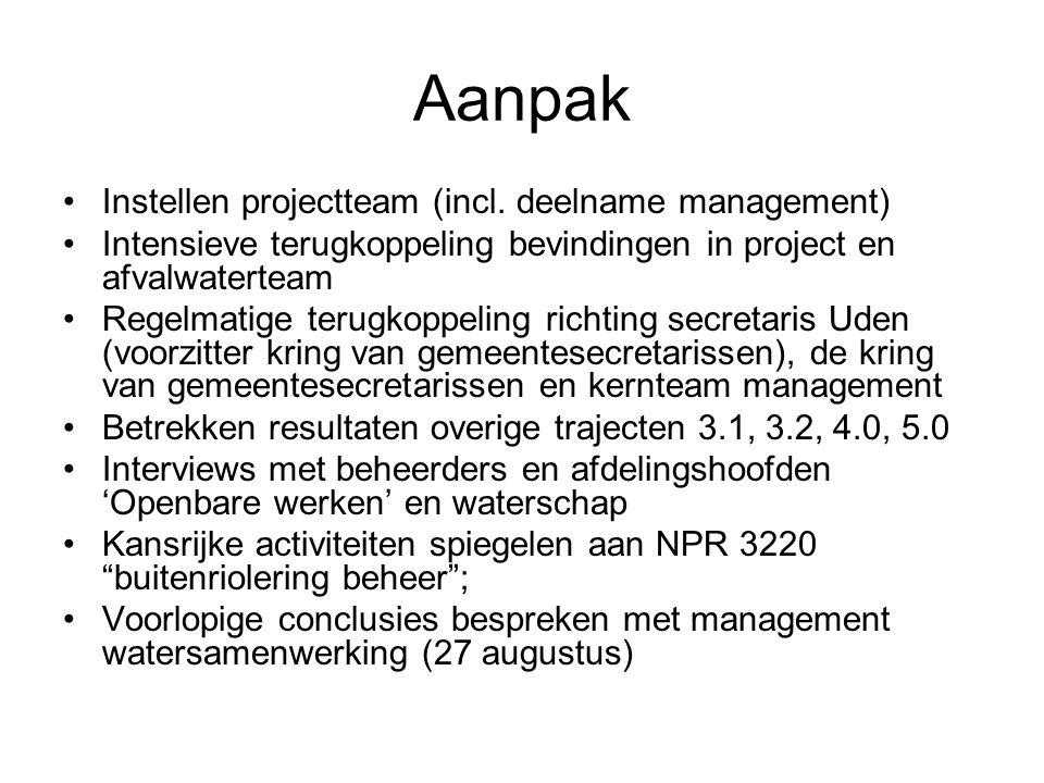 Aanpak Instellen projectteam (incl. deelname management) Intensieve terugkoppeling bevindingen in project en afvalwaterteam Regelmatige terugkoppeling