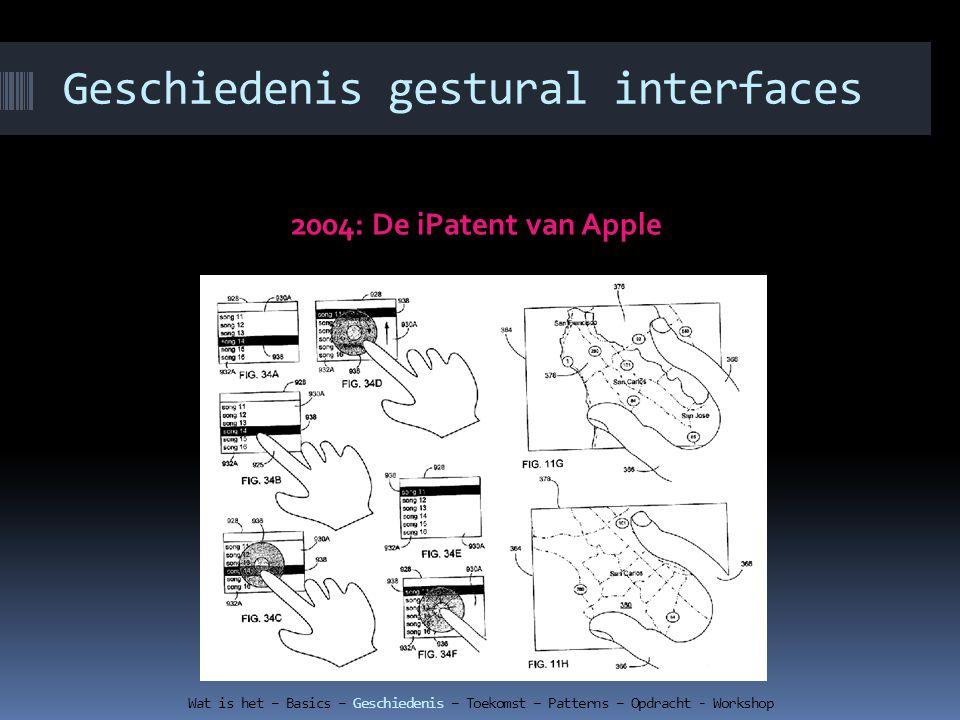 Geschiedenis gestural interfaces 2004: De iPatent van Apple Wat is het – Basics – Geschiedenis – Toekomst – Patterns – Opdracht - Workshop