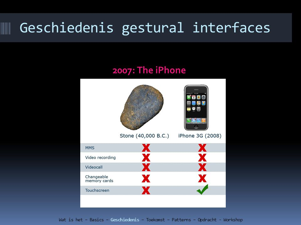 Geschiedenis gestural interfaces 2007: The iPhone Wat is het – Basics – Geschiedenis – Toekomst – Patterns – Opdracht - Workshop