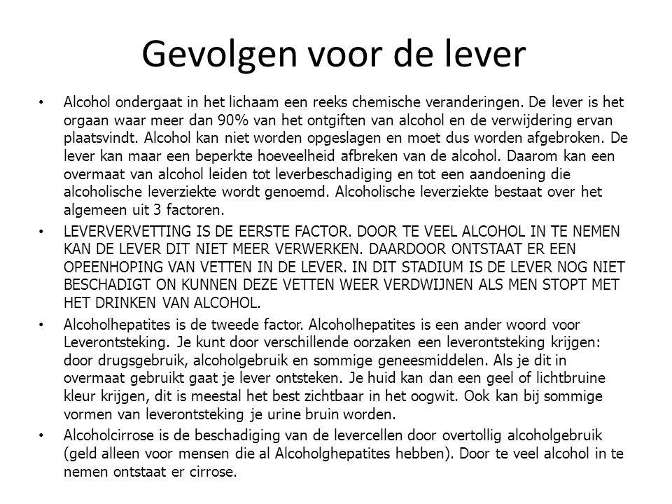 Gevolgen voor de lever Alcohol ondergaat in het lichaam een reeks chemische veranderingen. De lever is het orgaan waar meer dan 90% van het ontgiften