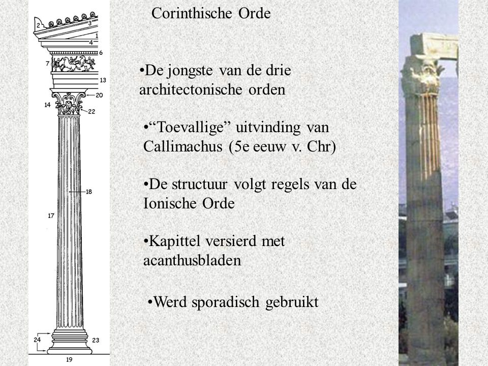 Corinthische Orde De jongste van de drie architectonische orden Toevallige uitvinding van Callimachus (5e eeuw v.