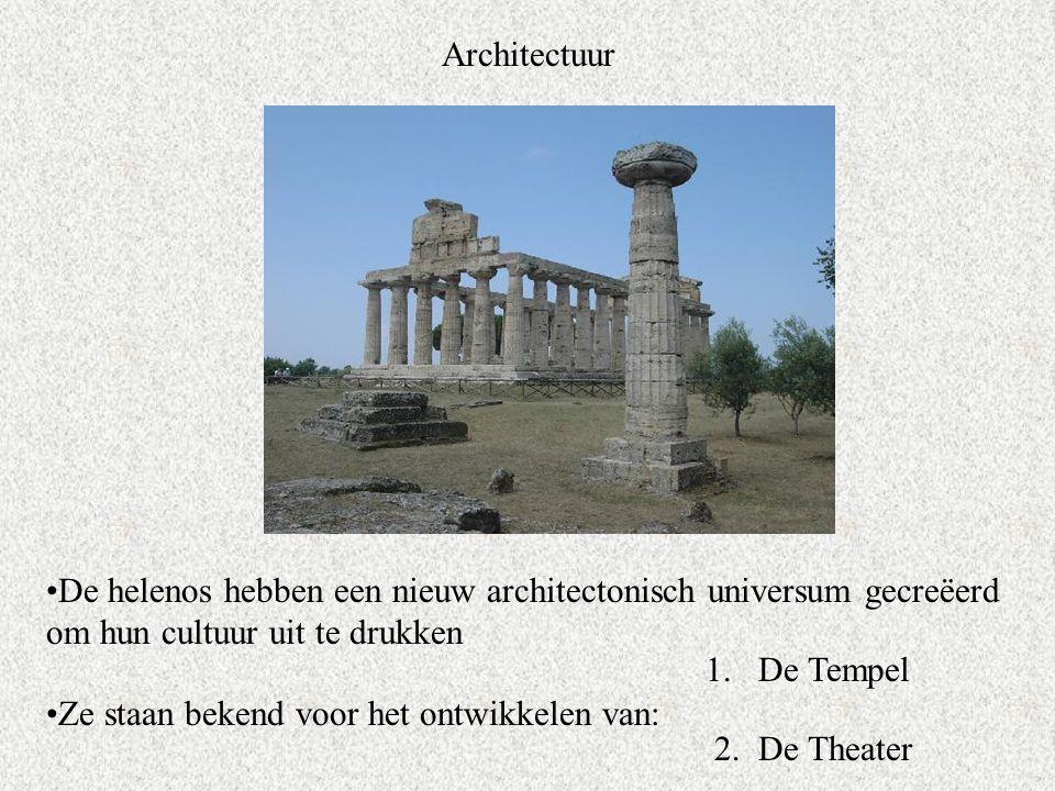 Architectuur De helenos hebben een nieuw architectonisch universum gecreëerd om hun cultuur uit te drukken Ze staan bekend voor het ontwikkelen van: 1.De Tempel 2.