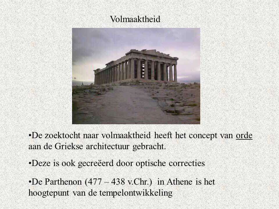 Volmaaktheid De zoektocht naar volmaaktheid heeft het concept van orde aan de Griekse architectuur gebracht.