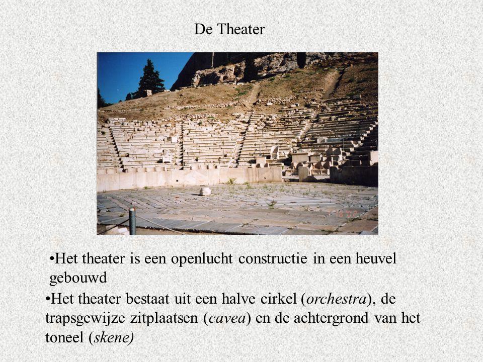 De Theater Het theater is een openlucht constructie in een heuvel gebouwd Het theater bestaat uit een halve cirkel (orchestra), de trapsgewijze zitplaatsen (cavea) en de achtergrond van het toneel (skene)