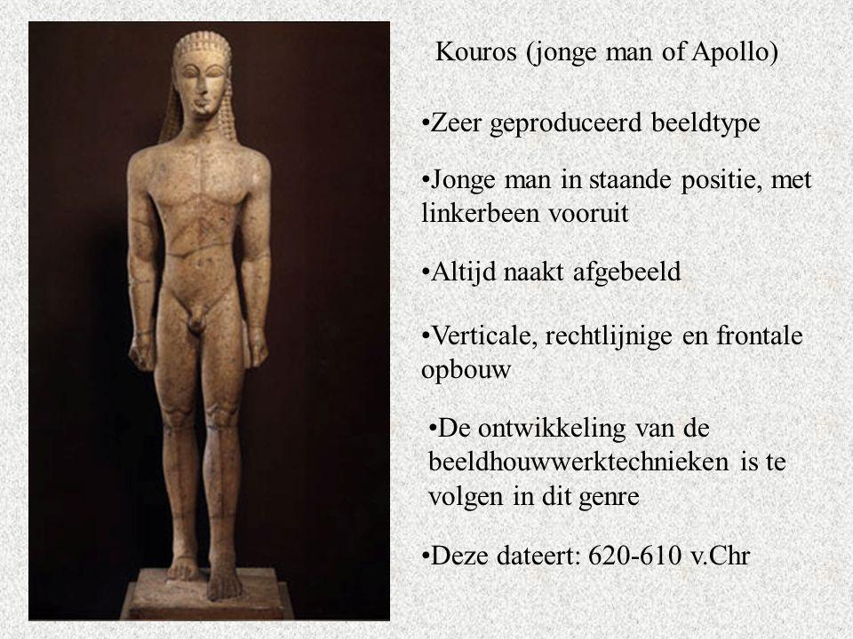 Kouros (jonge man of Apollo) Zeer geproduceerd beeldtype Jonge man in staande positie, met linkerbeen vooruit Altijd naakt afgebeeld Verticale, rechtlijnige en frontale opbouw De ontwikkeling van de beeldhouwwerktechnieken is te volgen in dit genre Deze dateert: 620-610 v.Chr
