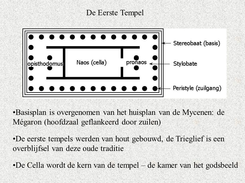 De Eerste Tempel Basisplan is overgenomen van het huisplan van de Mycenen: de Mégaron (hoofdzaal geflankeerd door zuilen) De eerste tempels werden van hout gebouwd, de Trieglief is een overblijfsel van deze oude traditie De Cella wordt de kern van de tempel – de kamer van het godsbeeld
