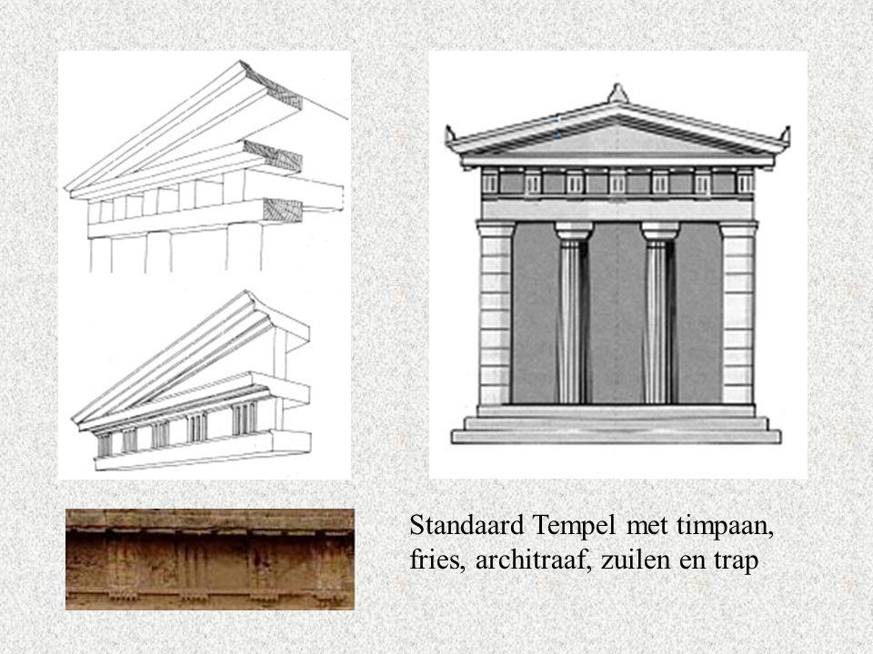Standaard Tempel met timpaan, fries, architraaf, zuilen en trap