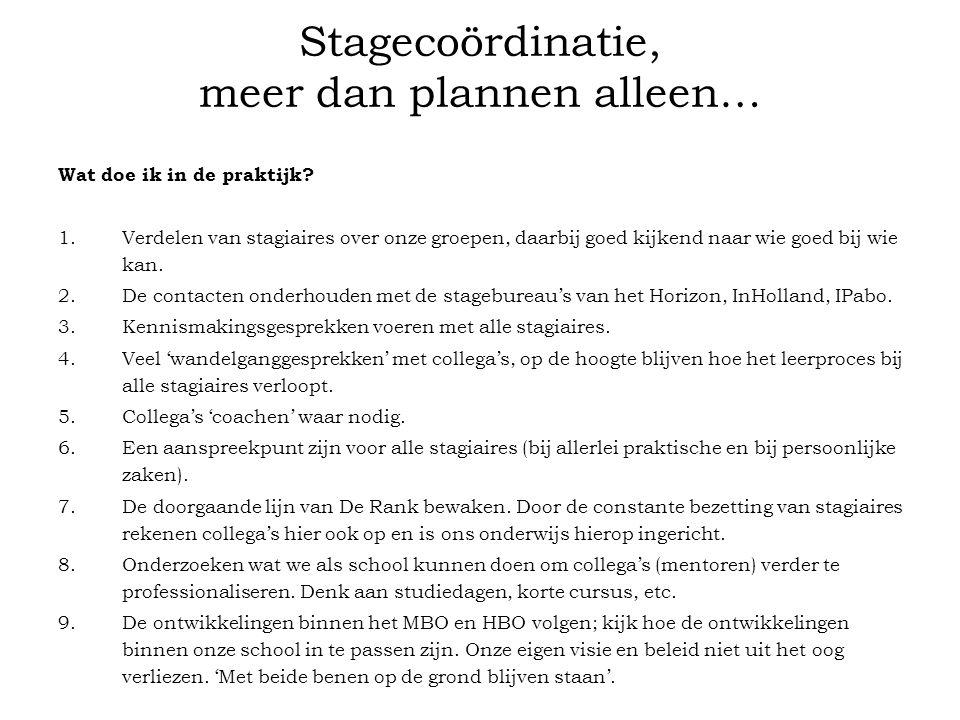 Stagecoördinatie, meer dan plannen alleen… Wat doe ik in de praktijk? 1.Verdelen van stagiaires over onze groepen, daarbij goed kijkend naar wie goed