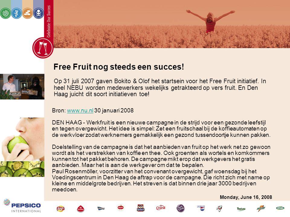 Free Fruit nog steeds een succes! Op 31 juli 2007 gaven Bokito & Olof het startsein voor het Free Fruit initiatief. In heel NEBU worden medewerkers we