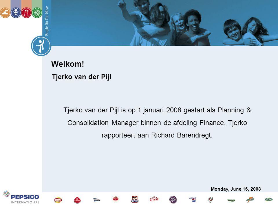 Welkom! Tjerko van der Pijl Tjerko van der Pijl is op 1 januari 2008 gestart als Planning & Consolidation Manager binnen de afdeling Finance. Tjerko r