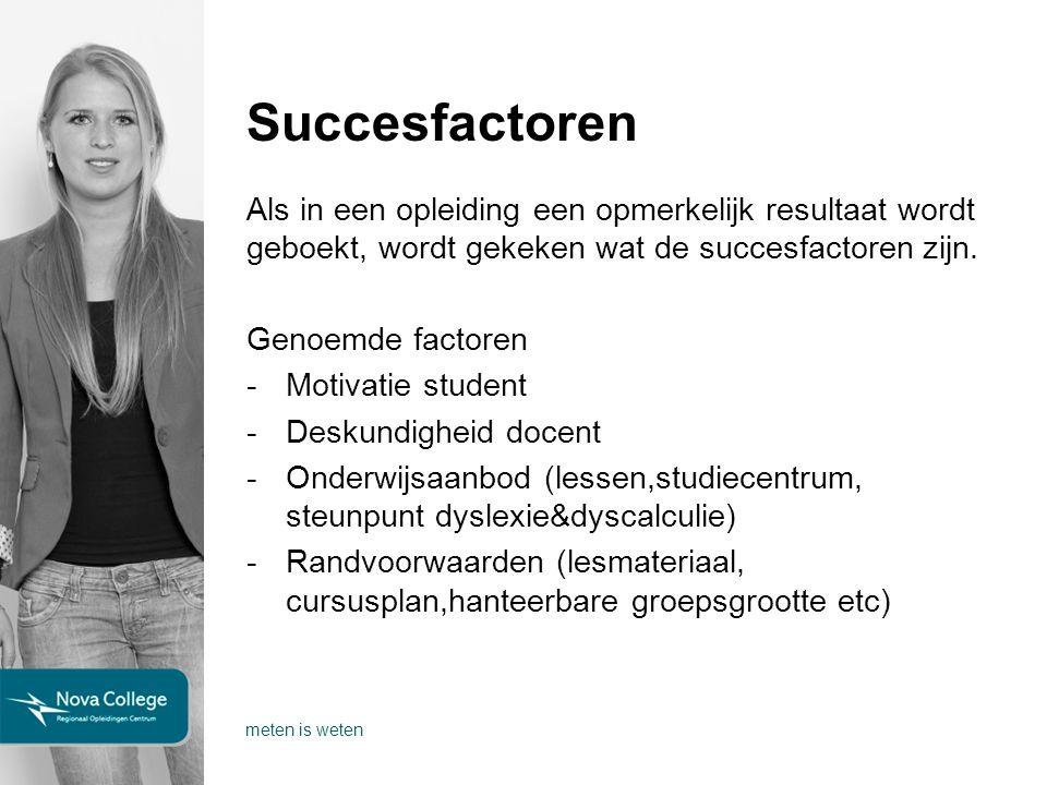 Succesfactoren Als in een opleiding een opmerkelijk resultaat wordt geboekt, wordt gekeken wat de succesfactoren zijn.