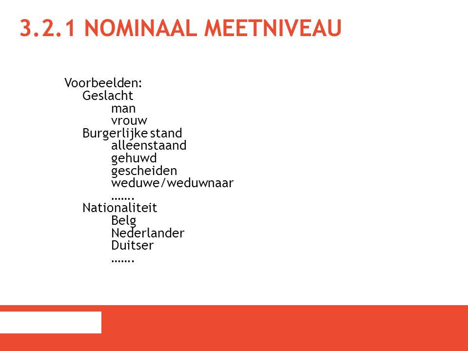 3.2.1 NOMINAAL MEETNIVEAU Voorbeelden: Geslacht man vrouw Burgerlijke stand alleenstaand gehuwd gescheiden weduwe/weduwnaar ……. Nationaliteit Belg Ned