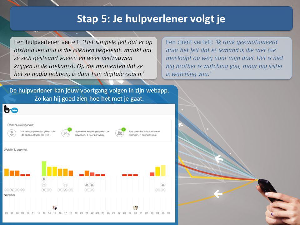 Stap 5: Je hulpverlener volgt je De hulpverlener kan jouw voortgang volgen in zijn webapp. Zo kan hij goed zien hoe het met je gaat. Een hulpverlener
