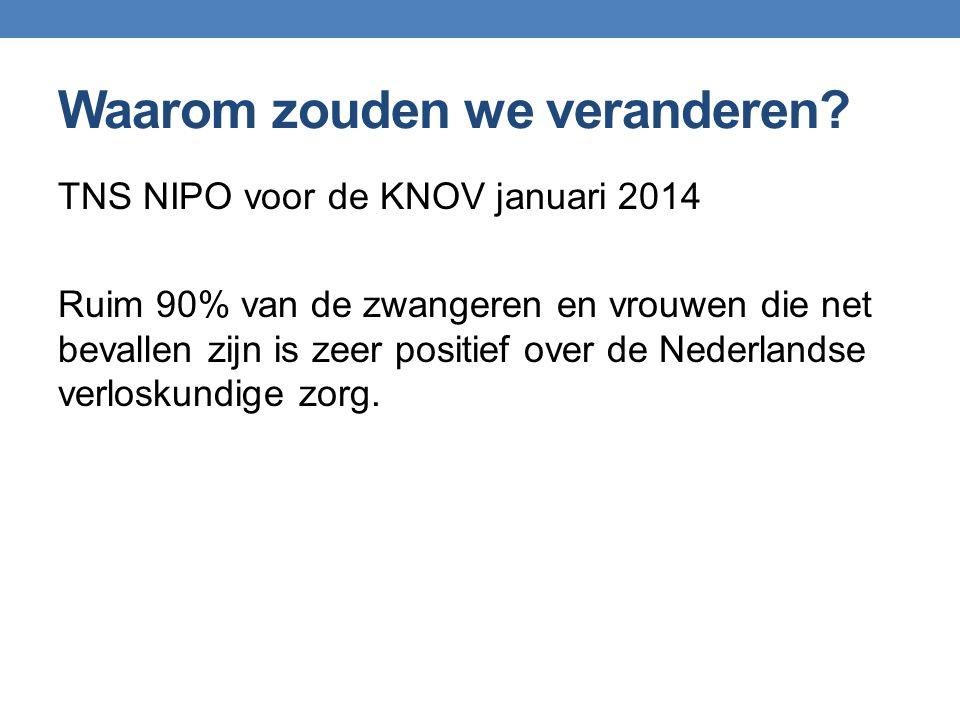Waarom zouden we veranderen? TNS NIPO voor de KNOV januari 2014 Ruim 90% van de zwangeren en vrouwen die net bevallen zijn is zeer positief over de Ne