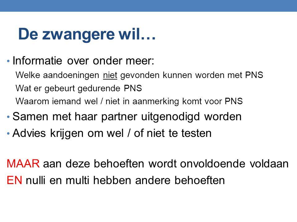 De zwangere wil… Informatie over onder meer: Welke aandoeningen niet gevonden kunnen worden met PNS Wat er gebeurt gedurende PNS Waarom iemand wel / n
