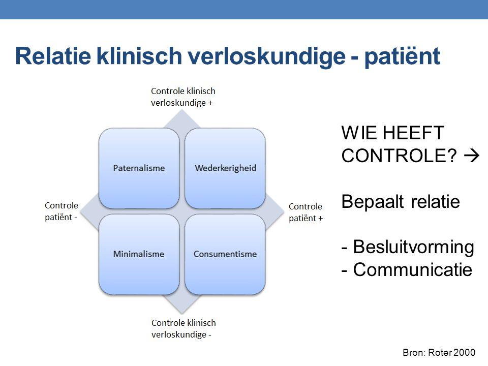 Relatie klinisch verloskundige - patiënt WIE HEEFT CONTROLE?  Bepaalt relatie - Besluitvorming - Communicatie Bron: Roter 2000