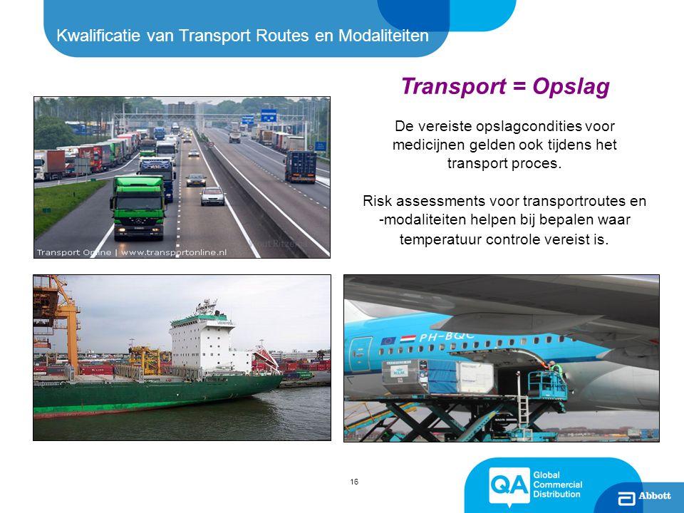 16 Kwalificatie van Transport Routes en Modaliteiten Transport = Opslag De vereiste opslagcondities voor medicijnen gelden ook tijdens het transport p