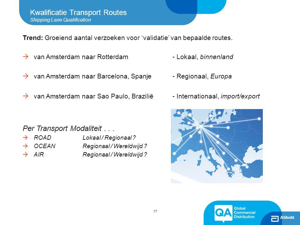 Kwalificatie Transport Routes Shipping Lane Qualification Trend: Groeiend aantal verzoeken voor 'validatie' van bepaalde routes.  van Amsterdam naar