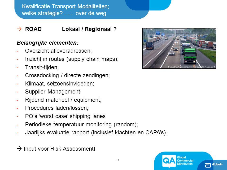 Kwalificatie Transport Modaliteiten; welke strategie?... over de weg  ROADLokaal / Regionaal ? Belangrijke elementen: -Overzicht afleveradressen; -In