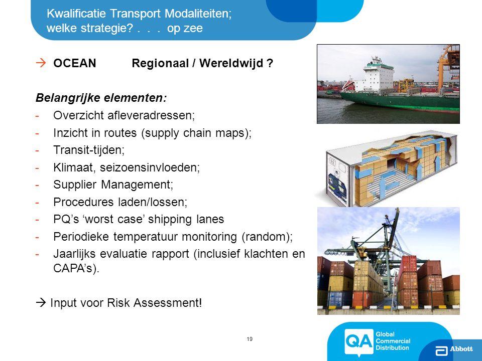 Kwalificatie Transport Modaliteiten; welke strategie?... op zee  OCEAN Regionaal / Wereldwijd ? Belangrijke elementen: -Overzicht afleveradressen; -I