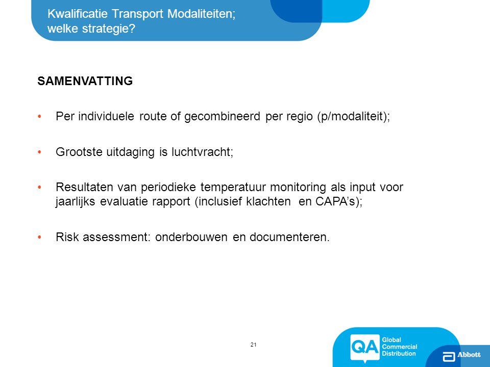 Kwalificatie Transport Modaliteiten; welke strategie? 21 SAMENVATTING Per individuele route of gecombineerd per regio (p/modaliteit); Grootste uitdagi