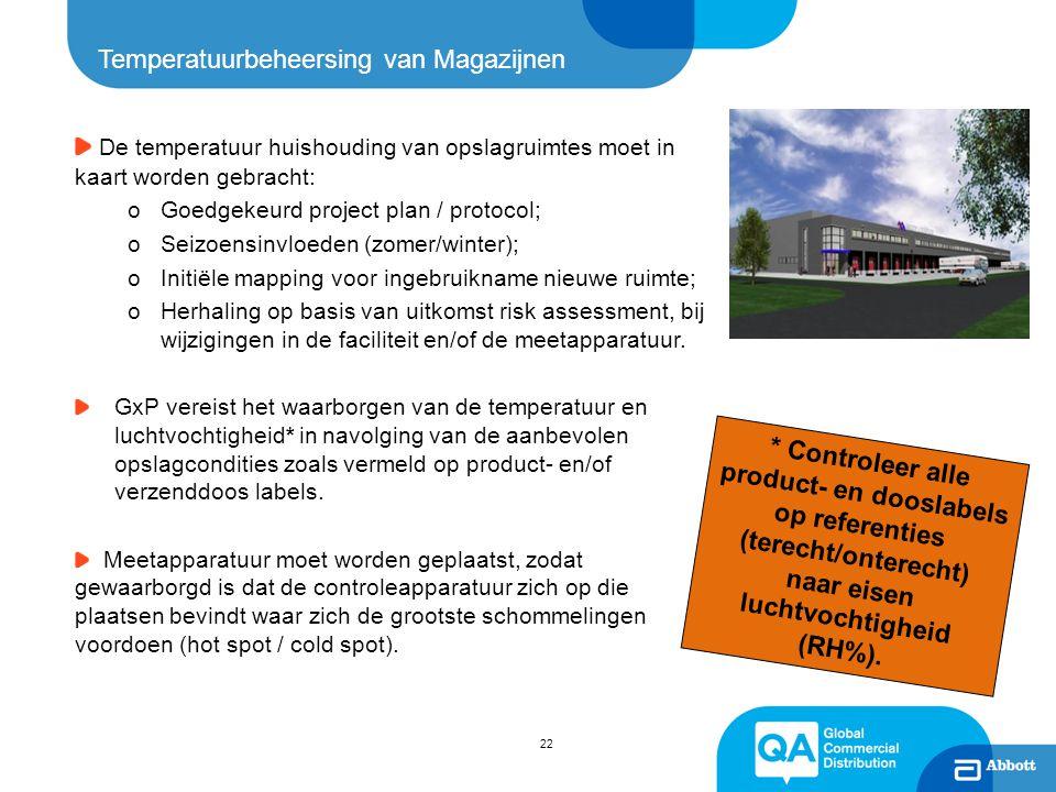 22 Temperatuurbeheersing van Magazijnen De temperatuur huishouding van opslagruimtes moet in kaart worden gebracht: oGoedgekeurd project plan / protoc