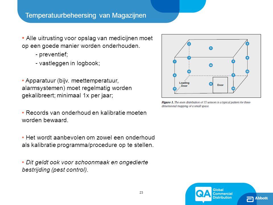 23 Temperatuurbeheersing van Magazijnen Alle uitrusting voor opslag van medicijnen moet op een goede manier worden onderhouden. - preventief; - vastle