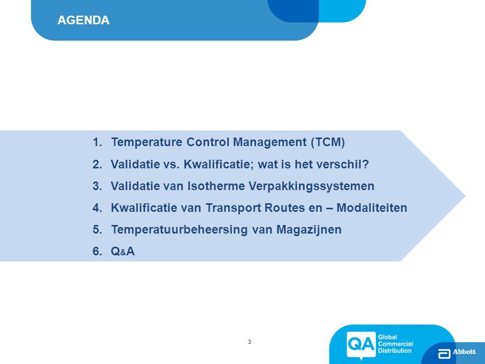 Het Abbott-model voor TCM 4 R I S K M A N A G E M E N T EU GDP Guidelines for Human Medicines (2013/C 68/01) In Scope: Ambient Temperatuur Profielen Validatie Passieve / Actieve systemen Temp.