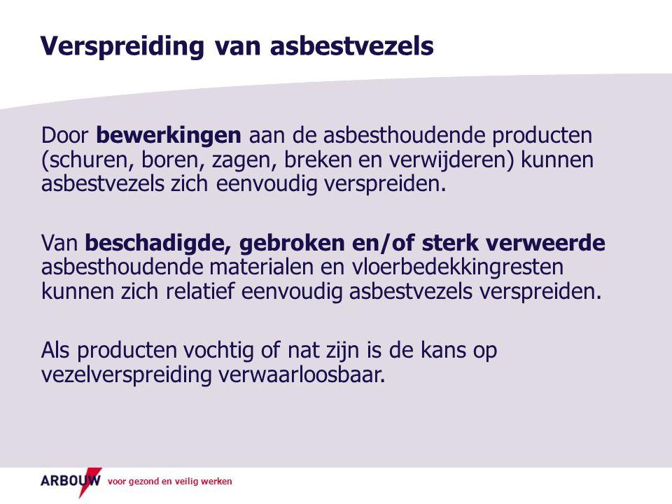 voor gezond en veilig werken Verspreiding van asbestvezels Door bewerkingen aan de asbesthoudende producten (schuren, boren, zagen, breken en verwijde