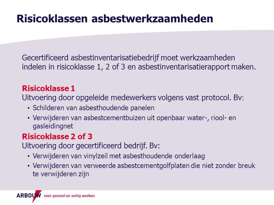 voor gezond en veilig werken Risicoklassen asbestwerkzaamheden Gecertificeerd asbestinventarisatiebedrijf moet werkzaamheden indelen in risicoklasse 1, 2 of 3 en asbestinventarisatierapport maken.
