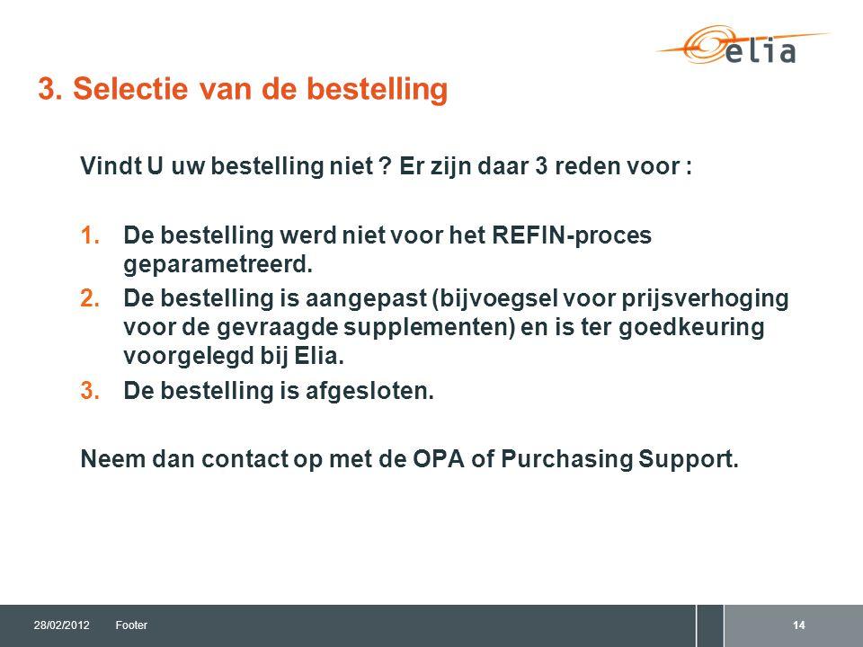 3. Selectie van de bestelling 28/02/2012Footer14 Vindt U uw bestelling niet .