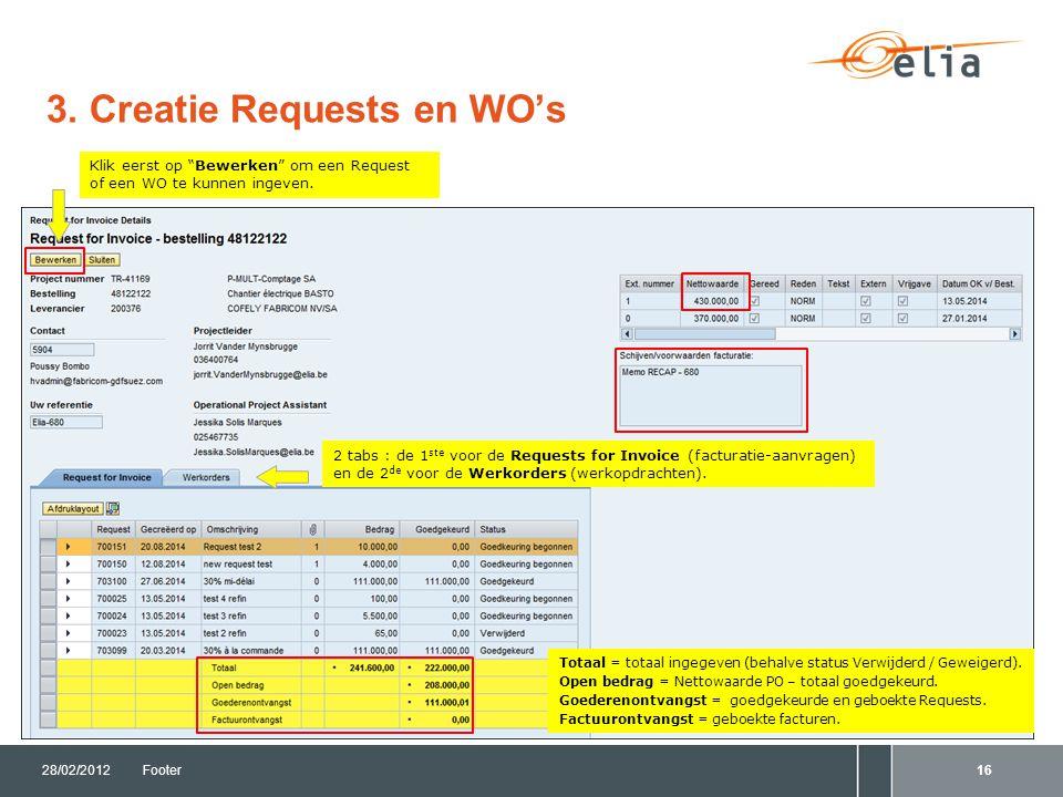 3. Creatie Requests en WO's 28/02/2012Footer16 2 tabs : de 1 ste voor de Requests for Invoice (facturatie-aanvragen) en de 2 de voor de Werkorders (we