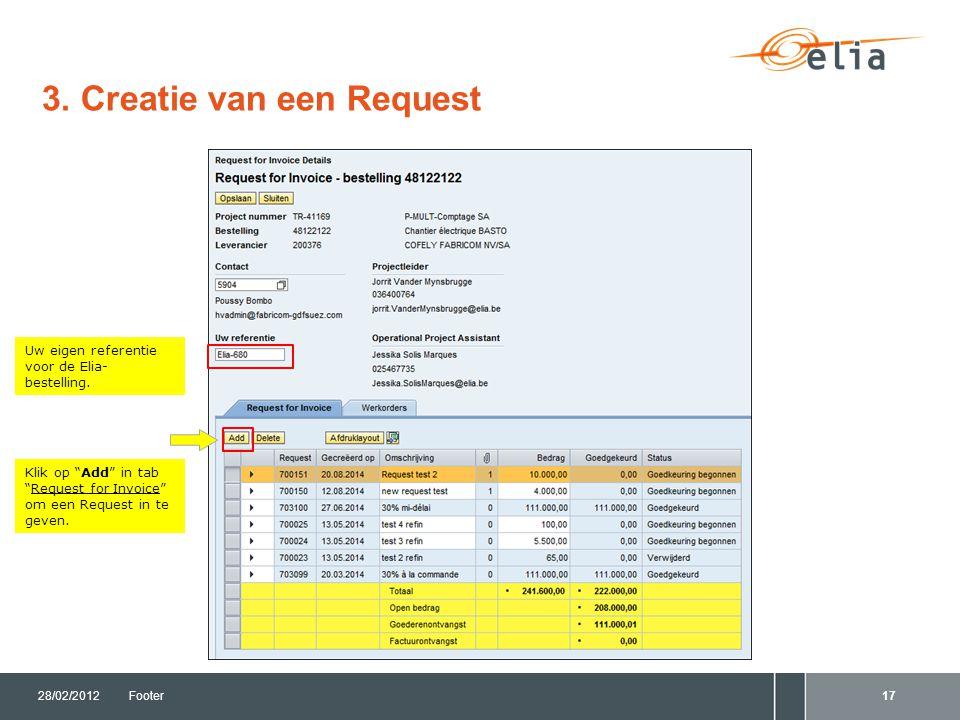 3. Creatie van een Request 28/02/2012Footer17 Uw eigen referentie voor de Elia- bestelling.