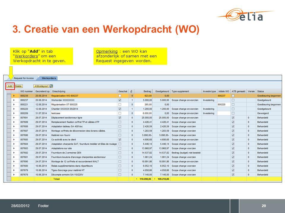 """3. Creatie van een Werkopdracht (WO) 28/02/2012Footer20 Opmerking : een WO kan afzonderlijk of samen met een Request ingegeven worden. Klik op """"Add"""" i"""